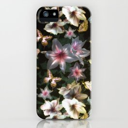 Amaryllis and Butterflies iPhone Case