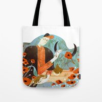 taurus Tote Bags featuring Taurus by Leonard Peng