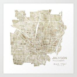 Jackson Mississippi watercolor city map Art Print