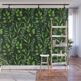 Eucalyptus on dark green Wall Mural