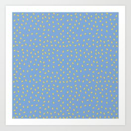 Yellow Pit on Blue /// www.pencilmeinstationery.com Art Print
