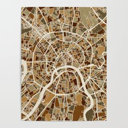 Moscow City Street Map Poster