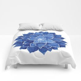 Indigo Succulent |  Watercolor Painting Comforters