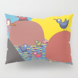 Semi-paranoid birds on islands Pillow Sham
