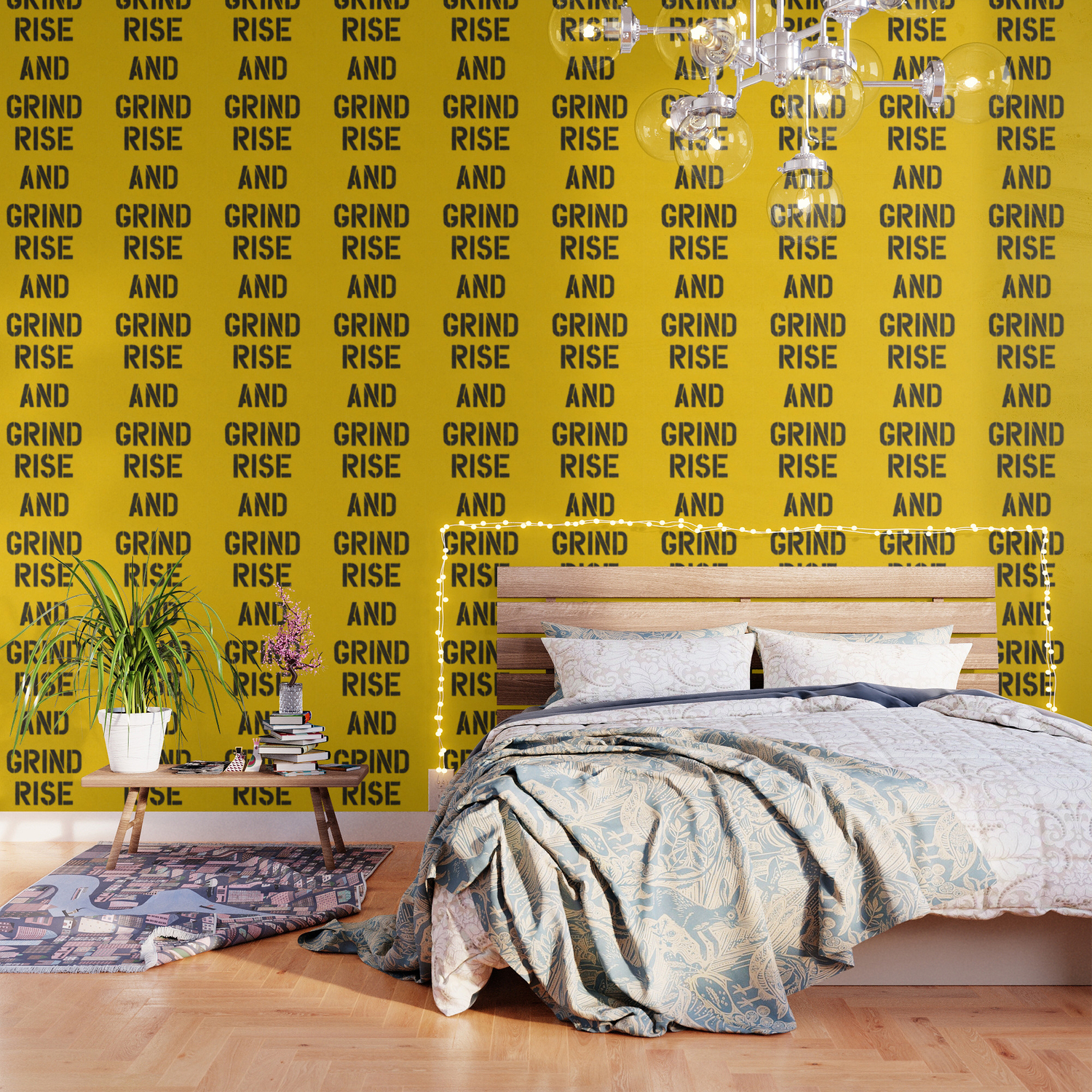 Rise And Grind Black White Yellow Typography Poster Bedroom Wall Home Decor Wallpaper By Themotivatedtype Society6