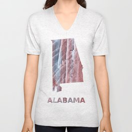 Alabama map outline Red Gray Clouds watercolor Unisex V-Neck