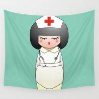 nurse Wall Tapestries featuring Kokeshi Nurse by Pendientera