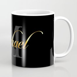 Name and initial of a boy Michael in golden letters Coffee Mug