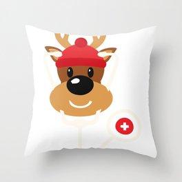 Cute Reindeer Nurse Christmas Throw Pillow