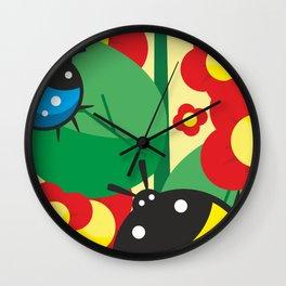 Ladybug, flowers and leaves #society6 #decor #buyart #artprint Wall Clock