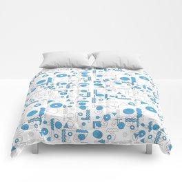 Blue White Geometric Shapes Comforters