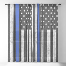 Thin Blue Line Sheer Curtain