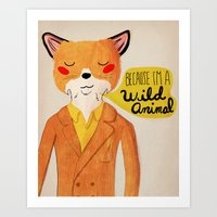 golden Art Prints featuring Because I'm a Wild Animal by Nan Lawson