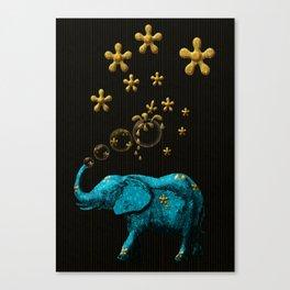 Glitter Bubble Elephant Canvas Print