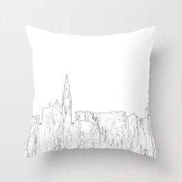 Galway, Ireland Skyline B&W - Thin Line Throw Pillow