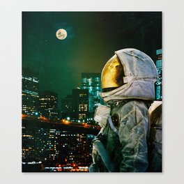 Between The Moon And The City Canvas Print