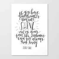 roald dahl Canvas Prints featuring They Will Shine | Roald Dahl Print by Voilà Paper Co.