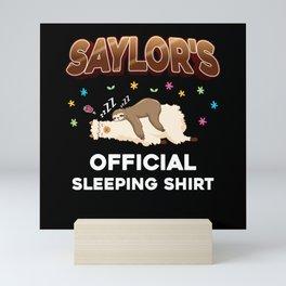 Saylor Name Gift Sleeping Shirt Sleep Napping Mini Art Print