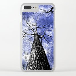 Wintry Trees Galaxy Skies blue Clear iPhone Case