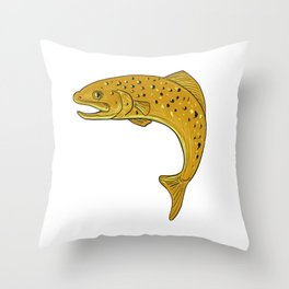 Brown Trout Jumping Drawing Throw Pillow