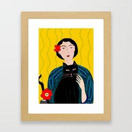 Lady with Black Cat Framed Art Print