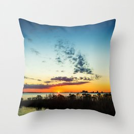 Gulf Coast Sunset Pano Throw Pillow