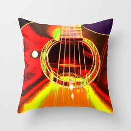 Psychedelic Acoustic Gutair Throw Pillow