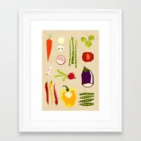 vegetables Framed Art Prints featuring Vegetables by Yetiland