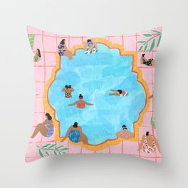 Marigold pool Throw Pillow