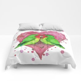 Peach faced lovebirds in love Comforters