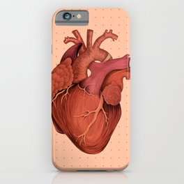 Anatomical Human Heart - Peach/Pink Version iPhone Case