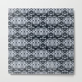 Lace Inspired Elegant Pattern - Navy Blue Metal Print