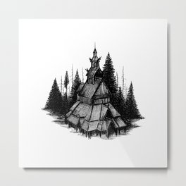 Stave church Metal Print