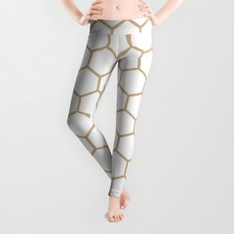 Honeycomb (Tan & White Pattern) Leggings