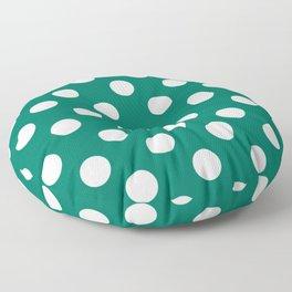 Tropical rain forest - green - White Polka Dots - Pois Pattern Floor Pillow