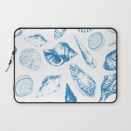 Tropical underwater creatures in blue and white Laptop Sleeve