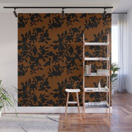 Classy Floral Brown Wall Mural