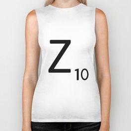 Letter Z - Custom Scrabble Letter Tile Art - Scrabble Z Initial Biker Tank