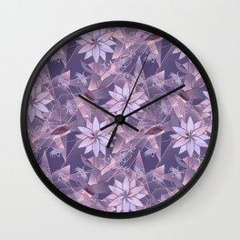 The floral pattern. Lilac flowers on abstract background. Wall Clock