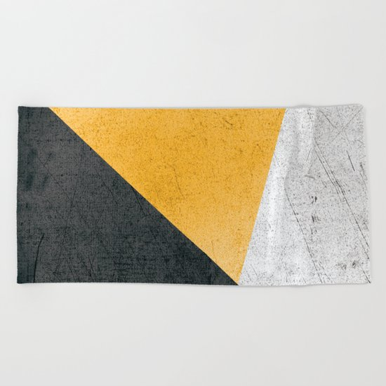 Modern Yellow & Black Geometric Beach Towel