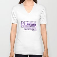 swan queen V-neck T-shirts featuring Swan Queen Nicknames - Purple (OUAT) by CLM Design