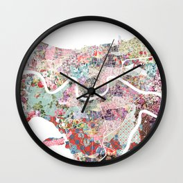 New Orleans map flowers Wall Clock