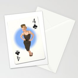 """""""Four of Clubs"""" - Playful Pinup - Retro Girl on Playing Card by Maxwell H. Johnson Stationery Cards"""
