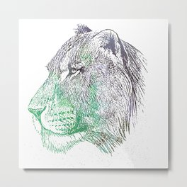 Watercolor lioness Metal Print