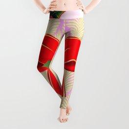 RED RIBBON BOW HOLLY BERRIES CHRISTMAS POINSETTIAS Leggings