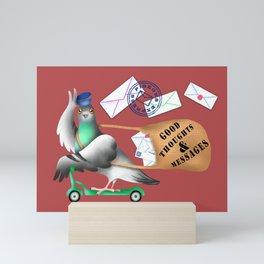 Pigeons Express (Rust Red Background) Mini Art Print