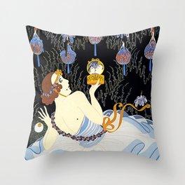 """Art Deco Illustration """"Stolen Kisses"""" by Erté Throw Pillow"""