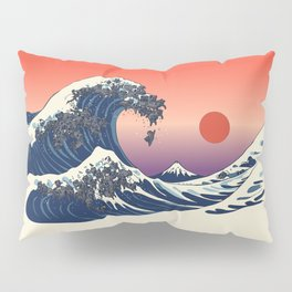 The Great Wave of Black Pug Pillow Sham