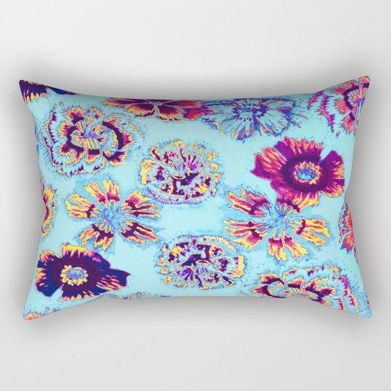 flowers on turquoise Rectangular Pillow
