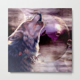 Wolf Howling at The Moon Metal Print